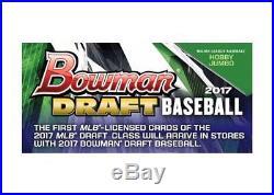 (1) 2017 Bowman Draft Baseball Factory Sealed JUMBO Hobby Box PRESELL with 3 Auto