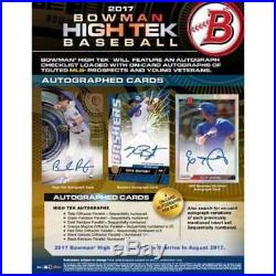 (1) 2017 Bowman High Tek Baseball Factory Sealed Hobby Box 4 Autographs New