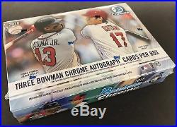 (1) 2018 Bowman Chrome HTA Choice Hobby Baseball Factory Sealed Box (3 Autos)