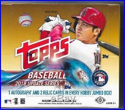 1 2018 Topps Update Factory Sealed Baseball Jumbo Hobby Box Hot