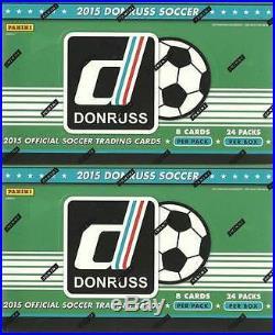 (2) 2015 Donruss Soccer Trading Cards New Sealed 24ct. HOBBY Box LOT Auto/Mem