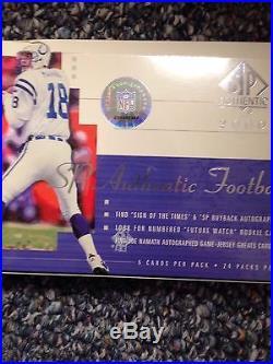 2000 SP Authentic Football Hobby Box Factory Sealed Tom Brady Mint Rookie Card