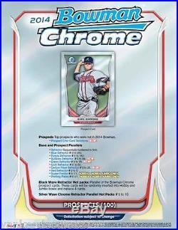 2014 Bowman Chrome Baseball factory sealed Hobby Jumbo Box, 12 packs/13 cards