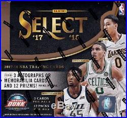 2017-18 Panini Select Basketball sealed hobby box 12 packs of 5 NBA cards 3 hits
