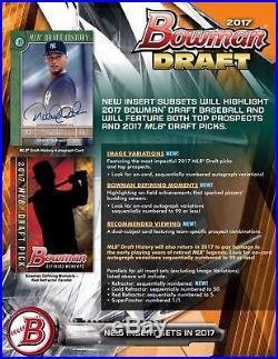 2017 Bowman Draft Baseball Hobby Jumbo HTA Box FACTORY SEALED READY TO SHIP