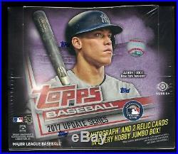 2017 Topps Update Baseball Jumbo Hobby Sealed Box 10 packs 1 auto and 2 relics