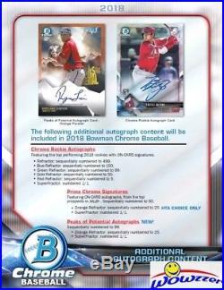 2018 Bowman Chrome Baseball Factory Sealed HTA CHOICE HOBBY Box-3 AUTOGRAPHS