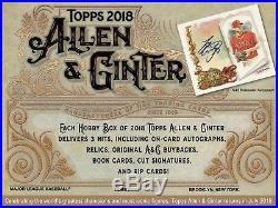 2018 Topps Allen & Ginter Baseball (07/18) Factory Sealed Hobby Box 3 Hits
