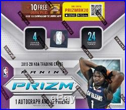 2019 20 Panini Prizm Basketball sealed retail box 24 packs 4 NBA cards 1 auto