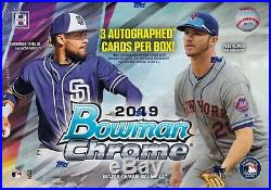 2019 Bowman Chrome Baseball sealed hobby HTA box 3 autograph cards