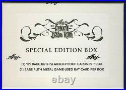 2019 Leaf Metal BABE RUTH Collection SPECIAL EDITION SEALED BOX (1/1 + Bat card)