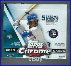 2019 Topps Chrome Baseball Sealed Jumbo Box 5 Autographs