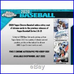 2020 Topps Chrome Baseball Factory Sealed Hobby Box Pre Sale