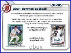 2021 Bowman Baseball Factory Sealed Hobby Box Pre Sale