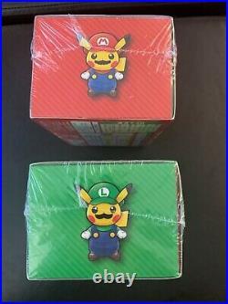 Mario & Luigi Pikachu Special Card Box Set Pokemon Center New Sealed US SELLER
